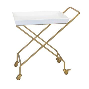 Gold Metal and White Wood Collapsible Rolling Bar Cart