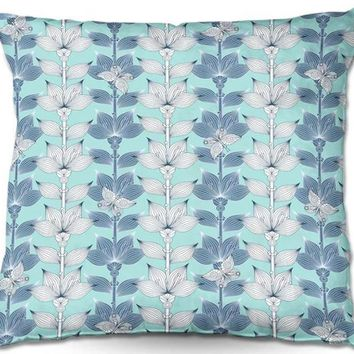 Outdoor Pillows By Julia Grifol White and Blue Flowers I