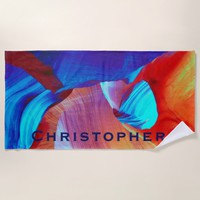Red and Blue Abstract Beach Towel with Blue Name