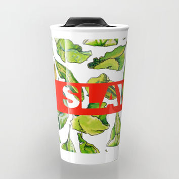 slay tea slay! // watercolor tea leaf pattern with millennial slang Travel Mug by Camila Quintana S