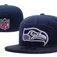 LMFON Seattle Seahawks New Era 59FIFTY NFL Football Cap Blue-White