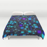 Post It Blue Glow Duvet Cover by Alice Gosling