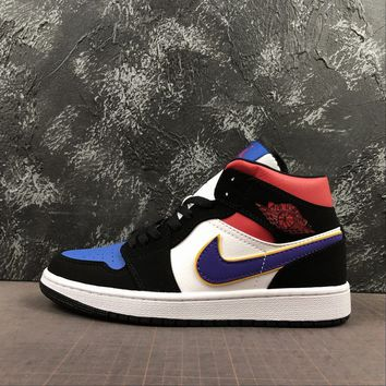 "Air Jordan 1 Mid SE ""What The"" Field Purple White-Gym Red - Best Deal Online"