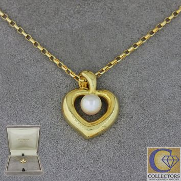 Mikimoto Vintage Estate 18k Solid Yellow Gold 5mm Pearl Pendant Necklace