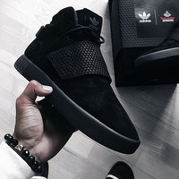 ADIDAS Women Men Tubular Invader Gets a Suede Makeover Hight top Pure black