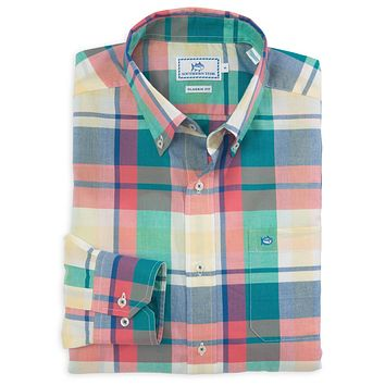 Winyah Plaid Classic Fit Sport Shirt in Coral by Southern Tide