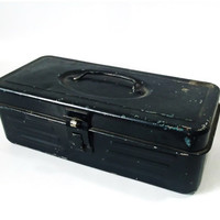 Vintage Industrial Petite Navy Blue Steel Toolbox