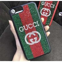 GUCCI luxury rhinestone iphone7p personality atmosphere 6s tide female phone case F-OF-SJK