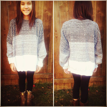 Ombre Gray & White Vintage Pullover Sweater
