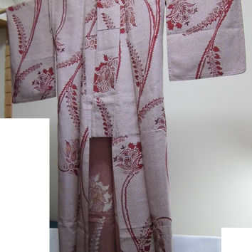 Vintage unlined kimono : white and brown / plants pattern