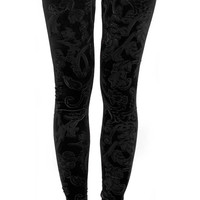Black Embossed Velvet Leggings Design 116