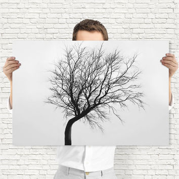 Minimal Single Tree Art Print | Black and White Photography, Digital Download | Botanical Decor by Mila Tovar