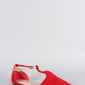 Bamboo Suede Contrast Metallic Ankle Strap Pointy Toe Flat