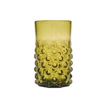 Olive Bumpy Glass Tumblers Set of Two