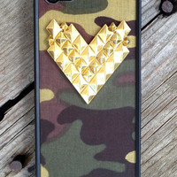 Camo Gold Studded Heart iPhone 5/5s Case