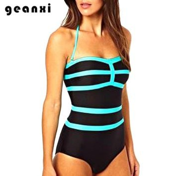 Hot Sell New Push Swimwear Women One Piece Swimsuit Fluorescent Blue Stripe Bathing Suit Sexy Halter Beach Wear Hipster Halter