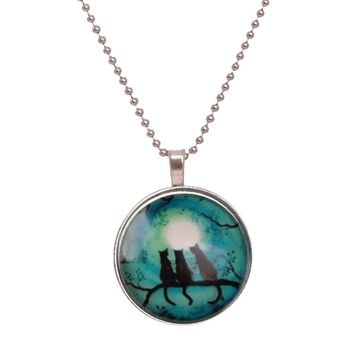 Noctilucent Halloween Cabochon Glass Art Cat Pendant Necklace Chain