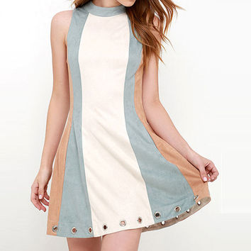 Eyelet High Collar Dress
