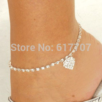 New Heart Pendant Rhinestone Crystal Silver Ankle Bracelet Foot Jewelry Anklets for Women JL001