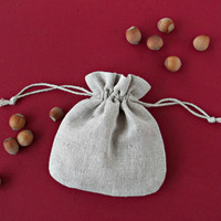 Small fabric gift bags Drawstring packaging pouches Light grey linen sachets 13 x 12 cm BULK