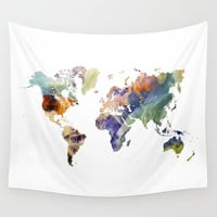 World map painting Wall Tapestry by Jbjart
