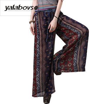 2017 Newest Chiffon  Wide leg Long  pants For Women Summer Style  Elastic Waist  Printing pants for woman x2206z20