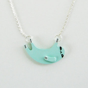 SALE - Sloth Necklace - Light Blue - Ships April 26th