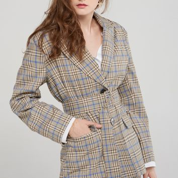 Jean Check Jacket with Belt Discover the latest fashion trends online at storets.com