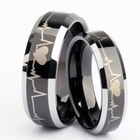 6mm Black Tungsten Metal Ring Forever Love Heartbeat Laser Engraved Comfort Fit Wedding Band (6.5)