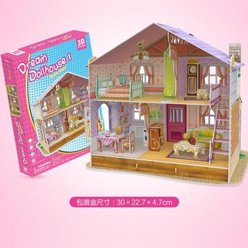 3D Puzzle Toy Dreamy Doll House Sarah Kelly & cottages Seaside villas family piano Educational Toys for Kids Child