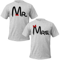 mr and mrs with bow Couple Tshirts