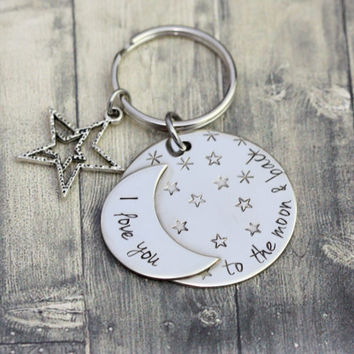 I love you to the Moon and back custom handmade engraved keyring, hand stamped keychain, moon, stars, love
