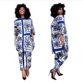 Paisley Print Side Slit Top Dashiki Suit
