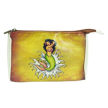 Rockabilly Vintage Tattoo Mermaid Makeup Pouch