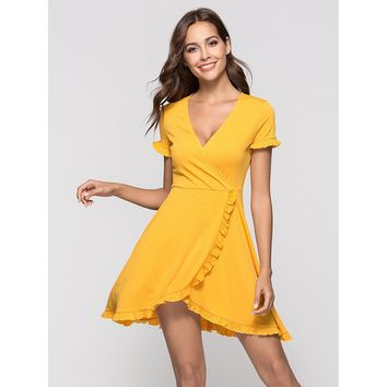 Deep V Neckline Frill Trim Dress