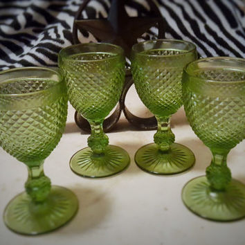 Set of Four Green Ivima 1895 Handmade Hobnail Forest Green Ivima 1895 Hobnail Wine Stem Glasses, Ivima Goblets, Ivima Hobnail Glass Portugal