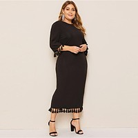 Women Plus Size Scarf Print Buttoned Cuff Black Long Dress Ladies Half Sleeve Solid Casual Dresses