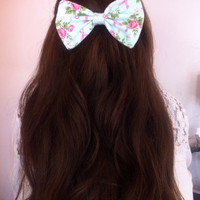 Floral Breast Cancer Bow by PrincessDarlene on Etsy