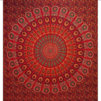 Red Tapestry Beach Mandala Hippie Bohemian Cotton Wall Hanging Wall Art India 92X82 Inches.