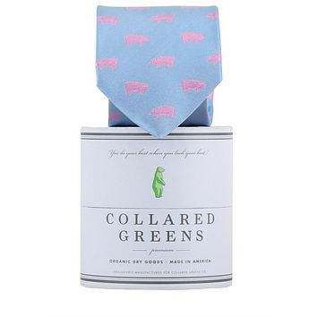 The Pig Tie in Carolina and Pink by Collared Greens
