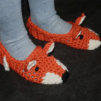"Cuddly Crochet Slippers ""Fox"" - kids and women's  sizes"