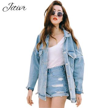 2017 Autumn Denim Jacket For Women Fashion Loose Female Jacket Slim Jackets Boyfriends Turn-down Collar Jeans Jacket For Girl