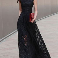 Black Plaid Print Maxi Dress