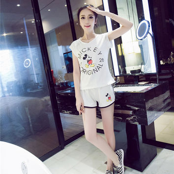 Mickey Mouse And Letter Print Tee With Shorts