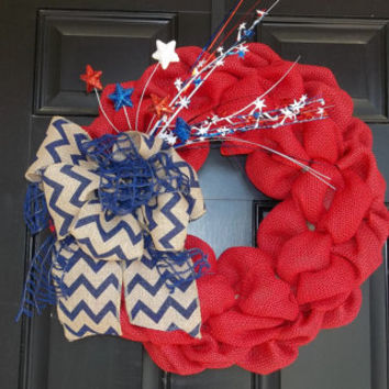 Red 4th of July wreath or Memorial Day Burlap Wreath 18""