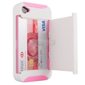 White/Pink Credit Card Hard Shell Stand Combo Case Cover For  iPhone 4 4S 4G 32F