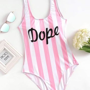 Low Back Striped & Dope Letter Print Pattern One Piece Swimsuit