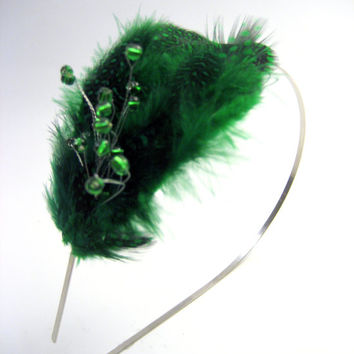 Beaded Green Feather Saint Patrick's Day Fascinator - Green or Emerald Wedding - Bridal Headpiece - Photo Prop