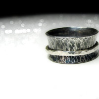 Sterling Silver Spinner Ring, Wide Band Silver Ring with Spinner, Fidget Ring, Worry Ring,