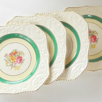 Vintage Adams Antiques Square Salad Plates, Set of 4, Steubenville, Rare, Shabby Cottage, Tea Party, French Farmhouse, Weddings, Ca. 1930's
